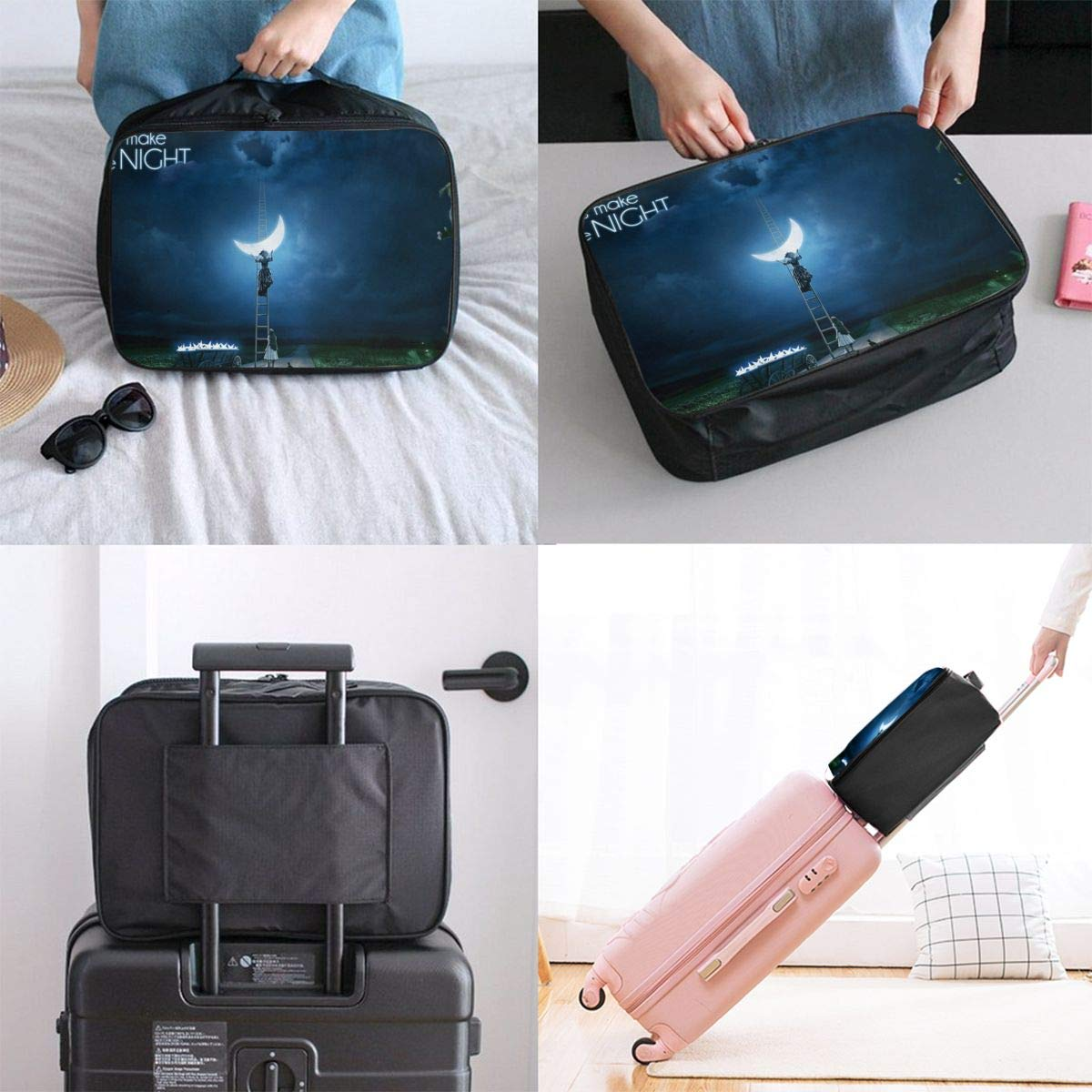 Lets Make The Night Travel Lightweight Waterproof Folding Storage Carry Luggage Duffle Tote Bag Large Capacity In Trolley Handle Bags 6x11x15 Inch