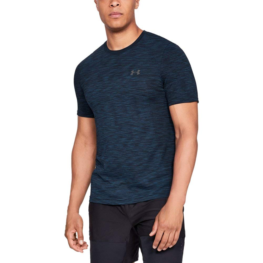 Under Armour Men's Vanish Seamless Short Sleeve Shirt, Academy (408)/Graphite, X-Large by Under Armour