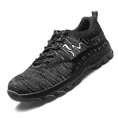 Axcer Unisex Hombre Mujer Zapatillas de Seguridad con Puntera de Acero Antideslizante Transpirable S3 Zapatos de Trabajo Calzado de Trabajo Deportivos Botas ...