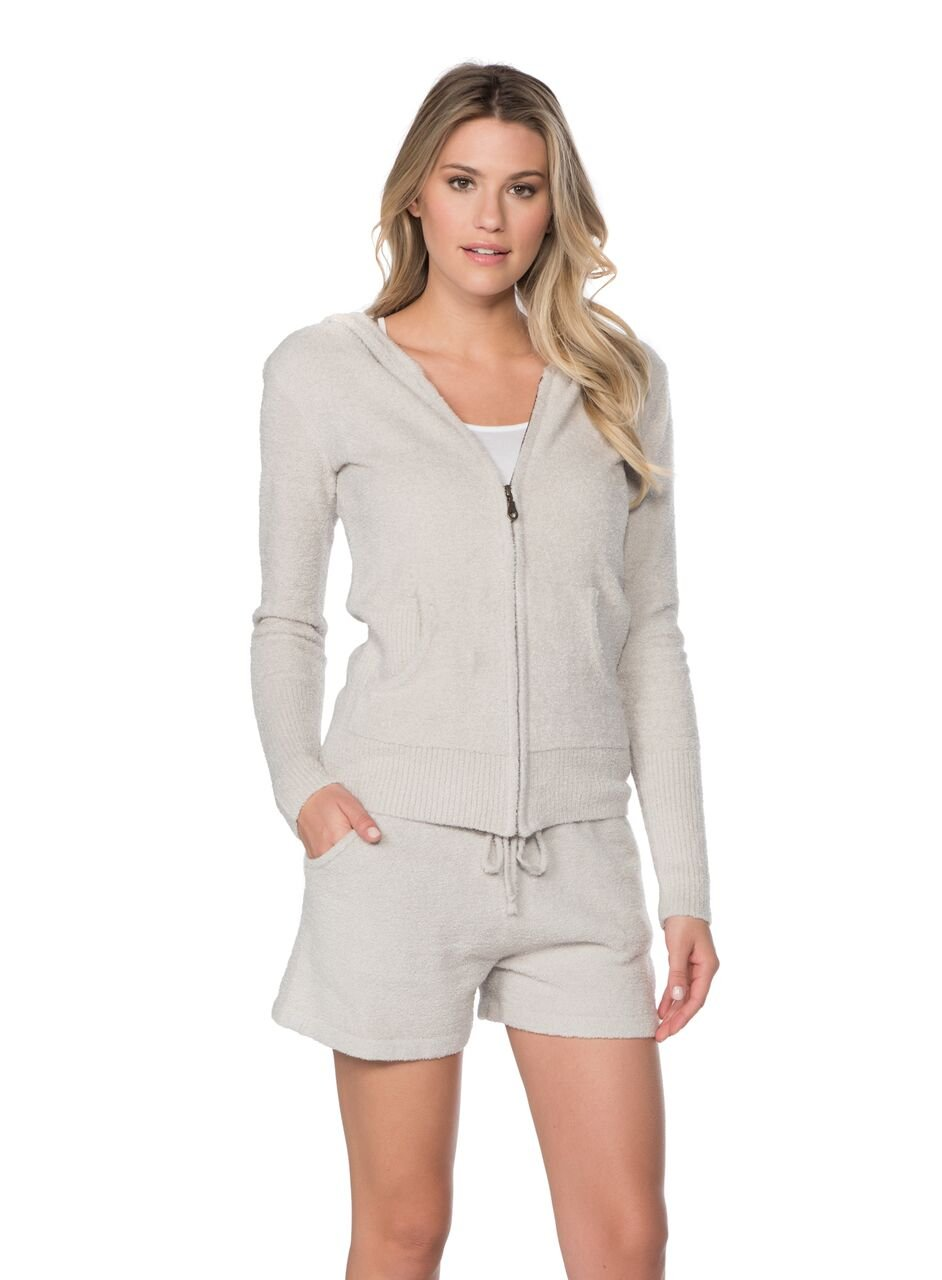 Barefoot Dreams Bamboo Chic Lite Women's Zip Up Hoodie (X-Large, Silver)