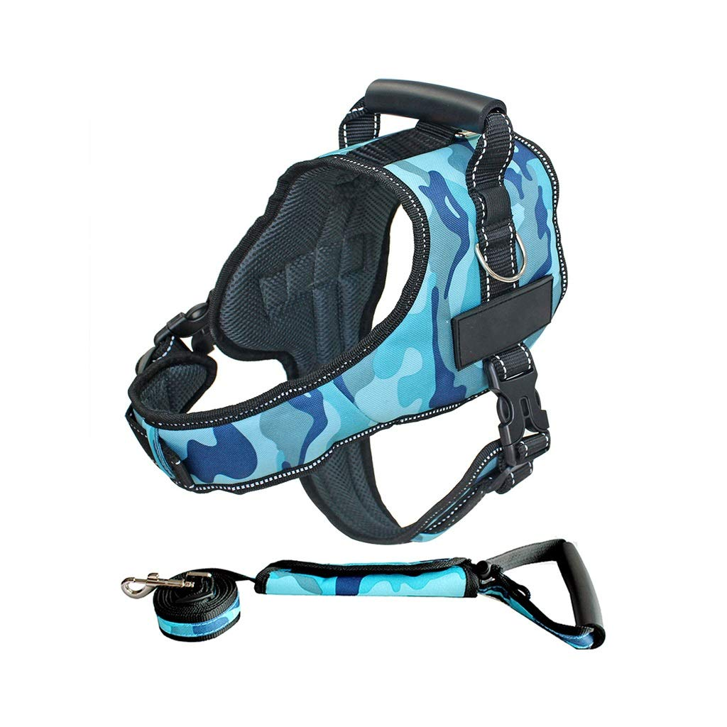 Camouflage bluee B MDog Leash Harness Set with Collar & Heavy Duty Denim Dog Leash Collar for Small Medium Large Dog,6 colors (color   Camouflage Pink B, Size   XXL)