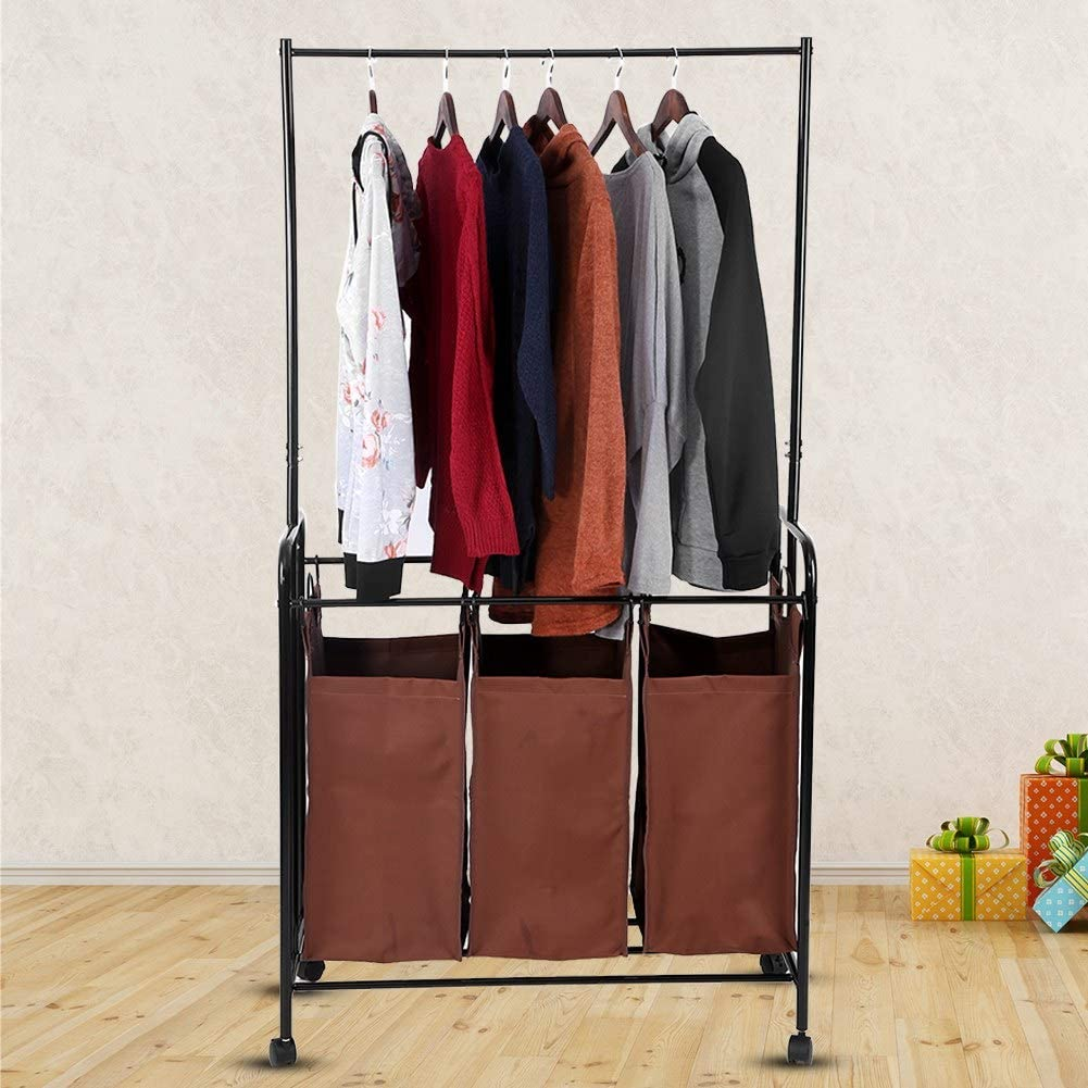 Bedroom 33x15x63inch Iron Frame Oxford 3 Compartment Laundry Sorting Cart Clothes Storage and Display Rack for Laundry Room Coffee Mobile Laundry Trolley Cart Bathroom