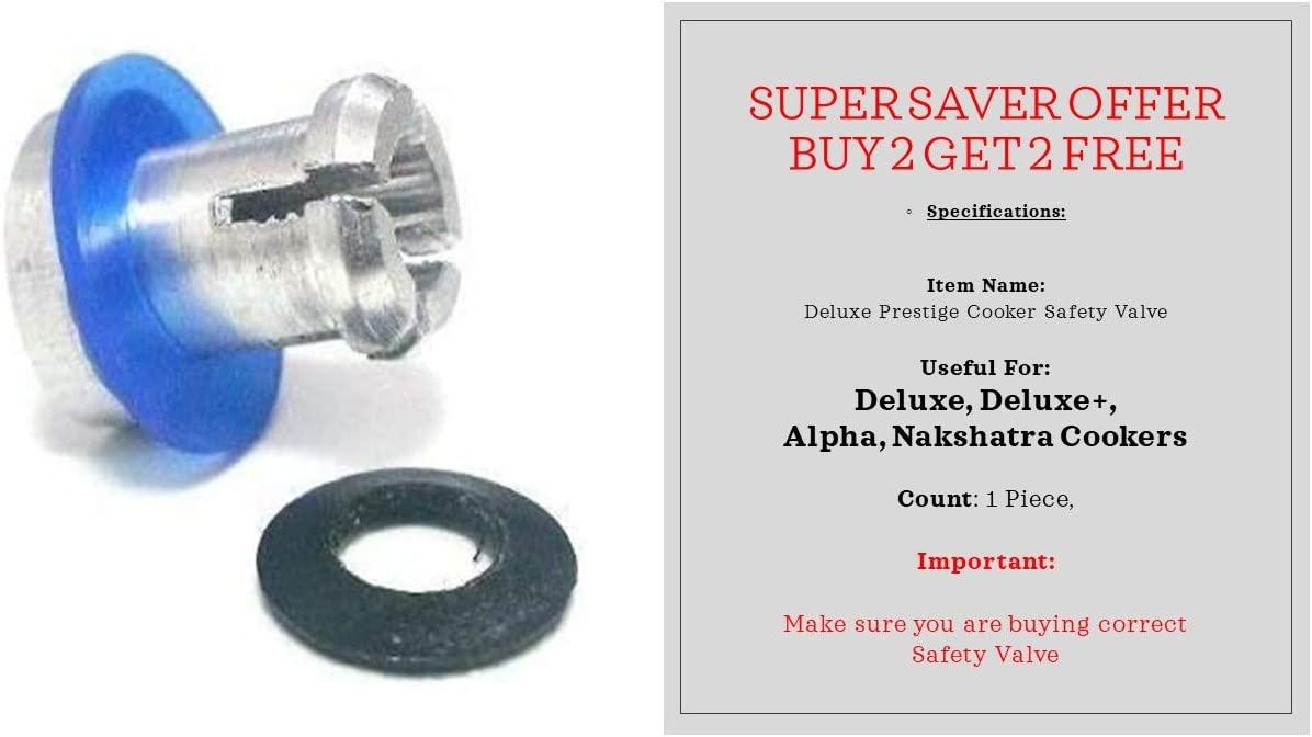Prestige Safety Valve for Deluxe, Deluxe Plus & Alpha Deluxe Pressure Cookers Blue Black Ring (BUY 2 GET 2 FREE)