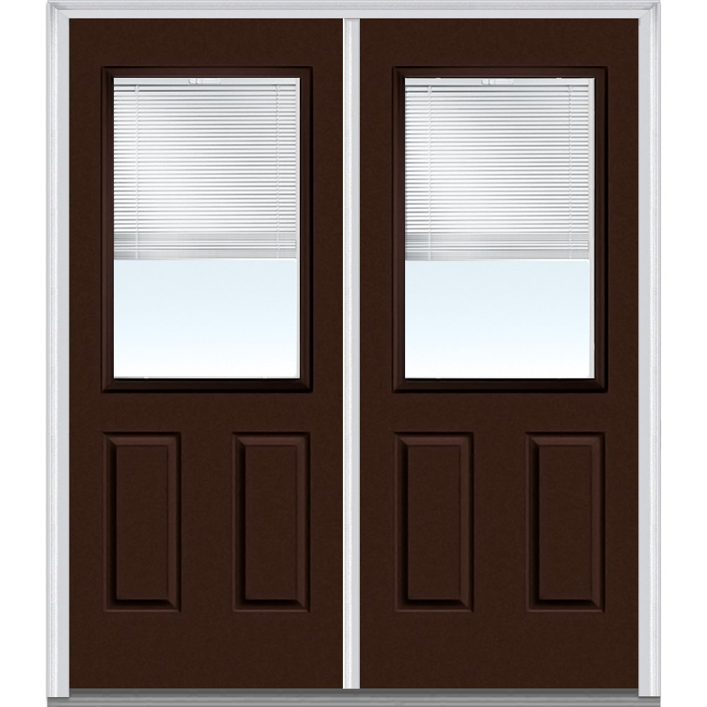 National Door Company Z010154L Steel Polished Mahogany, Left Hand In-swing, Prehung Door, 1/2 Lite 2-Panel, Clear Glass with RLB, 60'' x 80''