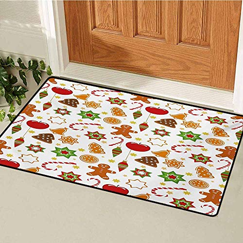 GUUVOR Gingerbread Man Inlet Outdoor Door mat Festive Christmas Icons Graphic Pattern Star Figures Cookies Apples Bells Catch dust Snow and mud W47.2 x L60 Inch Multicolor