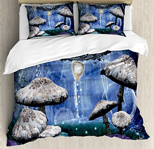 Ambesonne Trippy Duvet Cover Set King Size, Abstract Dreamlike Forest Scenery at Night with Mushrooms Pixie Dust and Bubbles, Decorative 3 Piece Bedding Set with 2 Pillow Shams, Multicolor