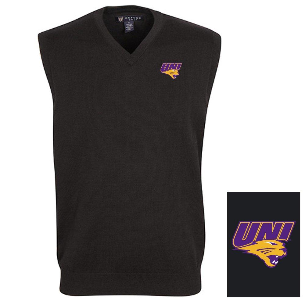 Oxford NCAA Northern Iowa Panthers Men's Solid Vee Neck Sweater Vest, Black, Medium