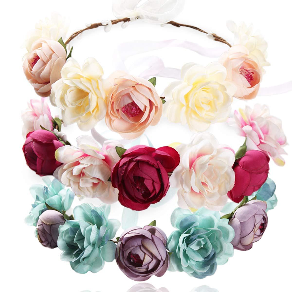 REKYO 3pcs La Main Fleur Bandeau Floral Couronne, Casque Cheveux Bridal Couronne Wedding Halo Floral Guirlande Bandeaux Avec Ruban Pour Mariage Fête Photo Accessoires