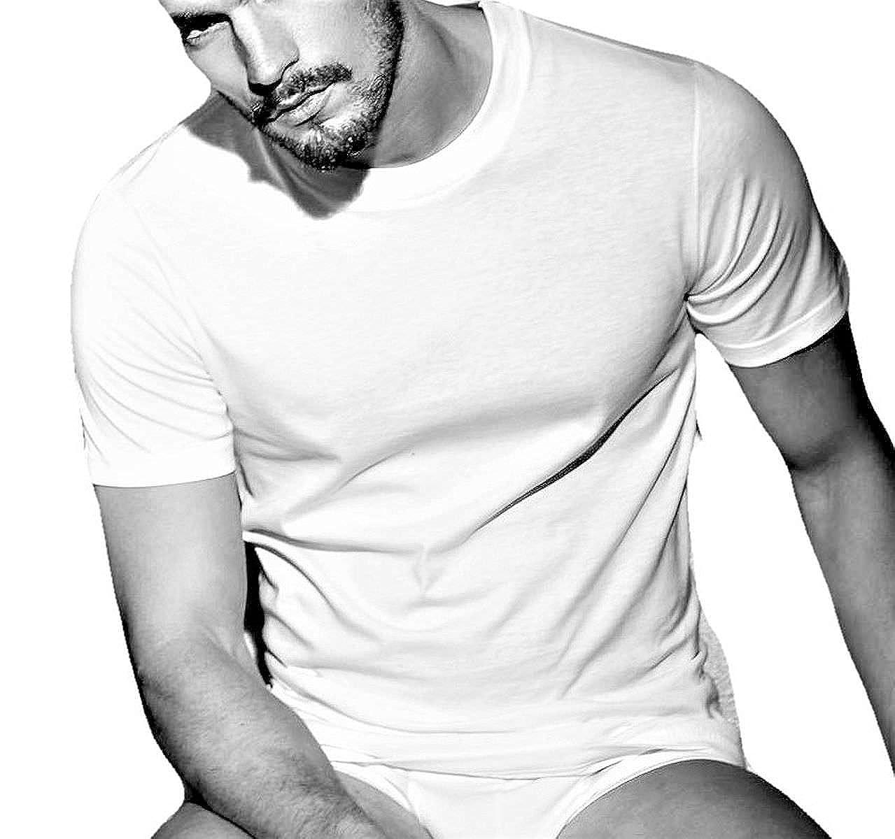Enrico Coveri Confezione da N Disponibile nel Colore Bianco. 2 Maglia Uomo Girocollo Alto Mezza Manica Underwear Cotone Pettinato