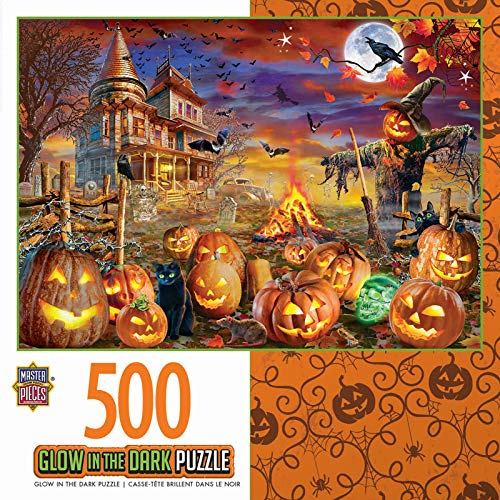 MasterPieces Halloween Glow in The Dark Jigsaw Puzzle, All Hallow's Eve, Featuring Art by Adrian Chesterman,500 Pieces -