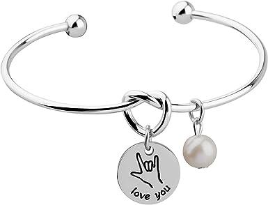 ASL Bracelet ASL Interpreter Women /& Girls I Love You Sign Language Bracelet ASL I love You American Sign Language Jewelry Gift