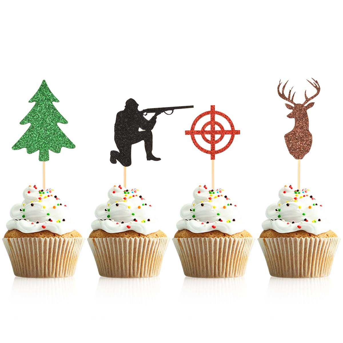 Donoter 48 Pieces Deer Hunting Birthday Cupcake Toppers Tree Target Hunter Cupcake Picks for Hunting Theme Party Cake Decoration Supplies