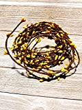 MerdCraft Yellow Pip Berry Single Ply Garland 18' Country Primitive Floral Craft Decor - 3 Strands of 6' Garland that Can Be Utilized Separately or Twisted together to Equal 18 Feet Of String Garland