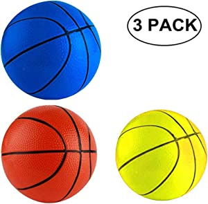 """Anzmtosn 6.29"""" 16CM Beach Small Bouncy Balls Toddlers Replacement Rubber Basketball Sports Toy Basketballs for Pool Kids Baby Boys Girls Adults School Playground Indoor Outdoor Home Office(3PCS)"""