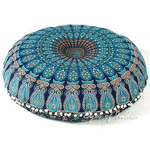 Eyes of India 32'' Blue Mandala Large Floor Pillow Meditation Cushion Seating Throw Cover Hippie Decorative Bohemian Boho Indian Pouf Ottoman