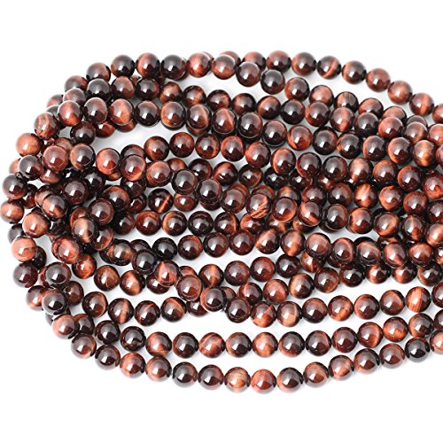 CHEAVIAN 45PCS 8mm Natural Red Tiger Eye Gemstone Round Loose Beads for Jewelry Making DIY Findings 1 Strand 15""