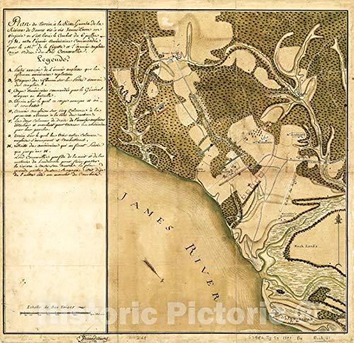 Historic 1781 Map | Plan du terrein à la rive Gauche de la rivière de James vis-à-vis Jamestown en Virginie ou s'est livré le Combat du 6 juillet 1781 36in x 36in