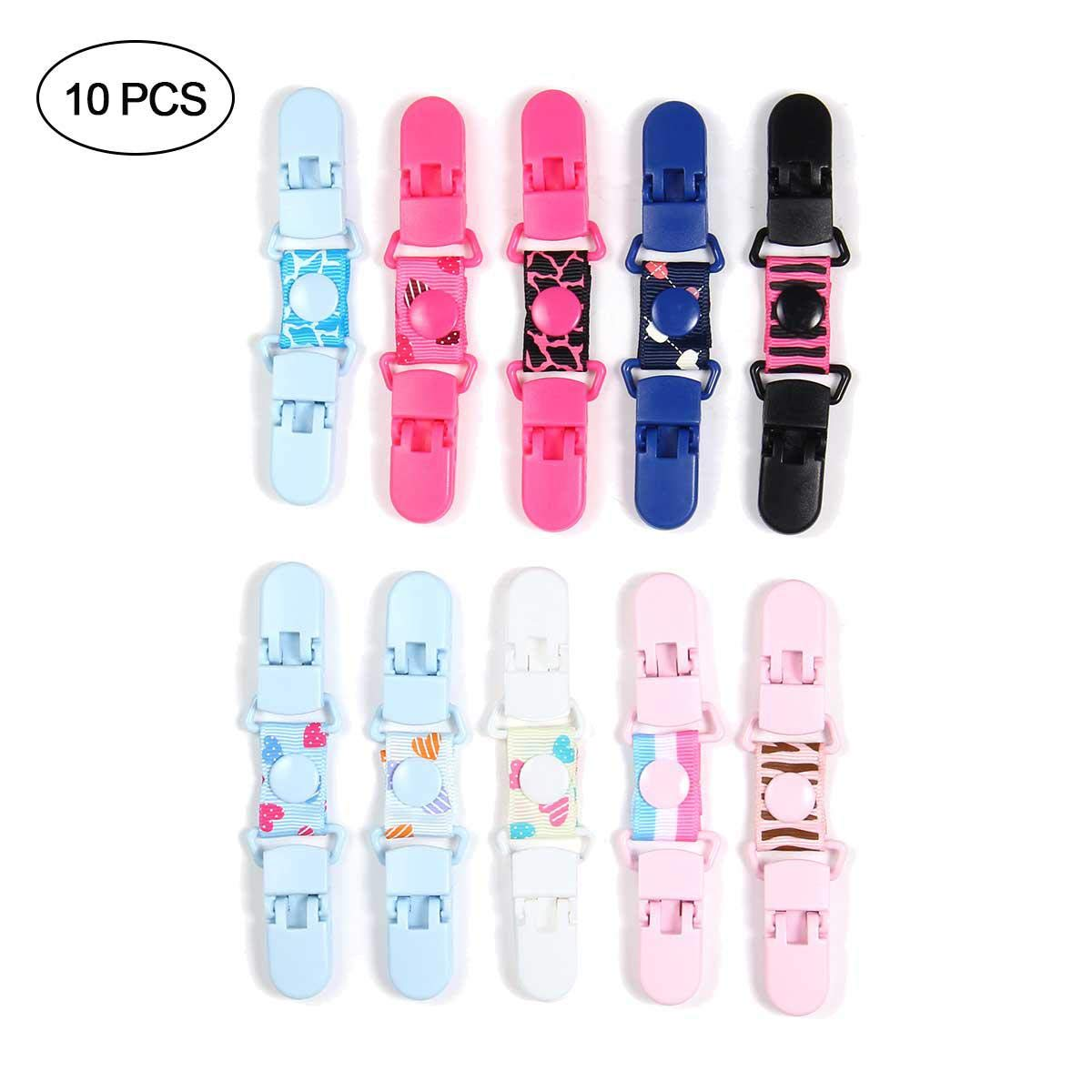 10 Pcs Baby and Kids Strong Stainless Steel Mitten Clips, Extra Strong Stainless Steel Elastic Glove and Mitten Clips Aolvo