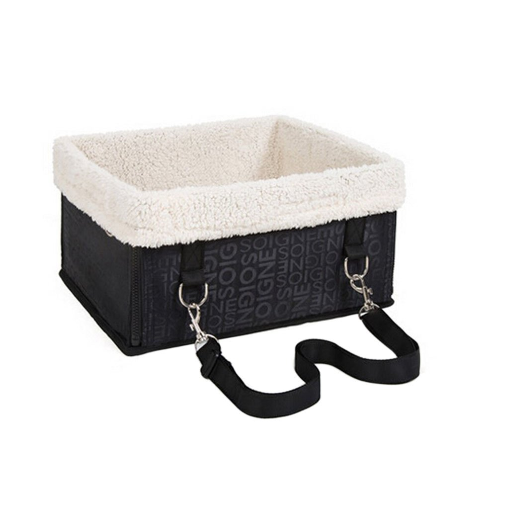 Waterproof Folding Pet Carrier Basket Bag Detachable Fur Lining Security Bucket Strap Pet Booster Car Seat Cover Travel Vehicle Harness Hammock for Small Dogs Cats Animals up to 5 kg