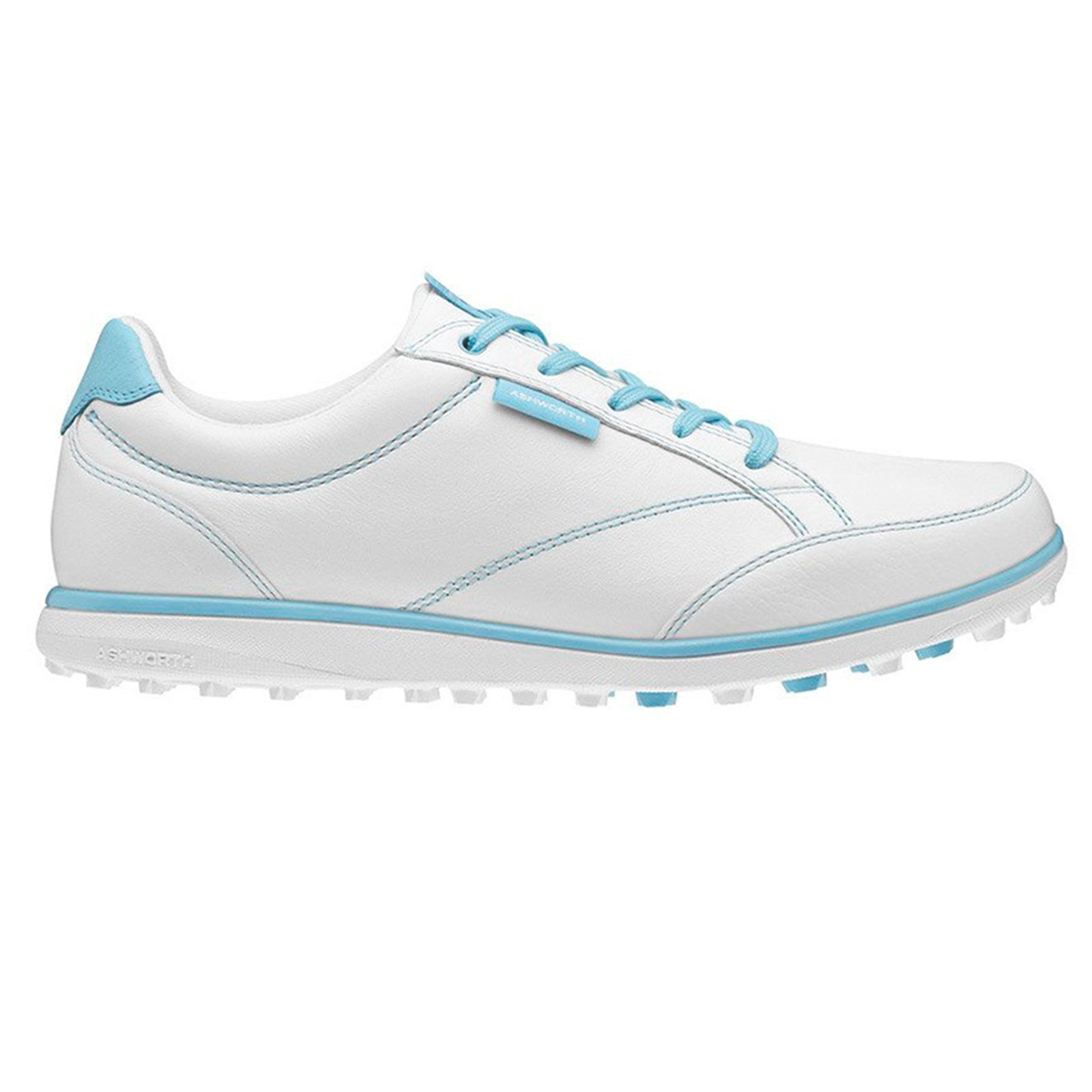 Ashworth Women's Leather and Mesh Golf Shoes 7.5 UK White/Light Aqua/Blue