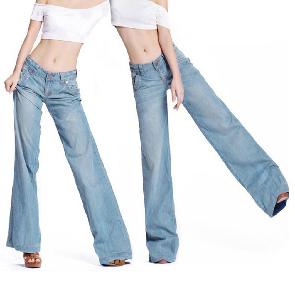 Tookang Donna Bootcut Taglia Grossa Jeans Pantaloni Lunghi Gamba Larga con Casuale Denim Pantalone Flared Senza Allungamento