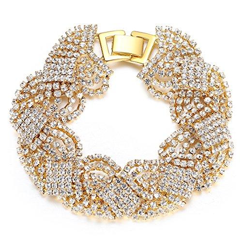 mecresh Gold Tassel Twisted Tennis Bracelet for Women Wedding Prom Jewelry ()