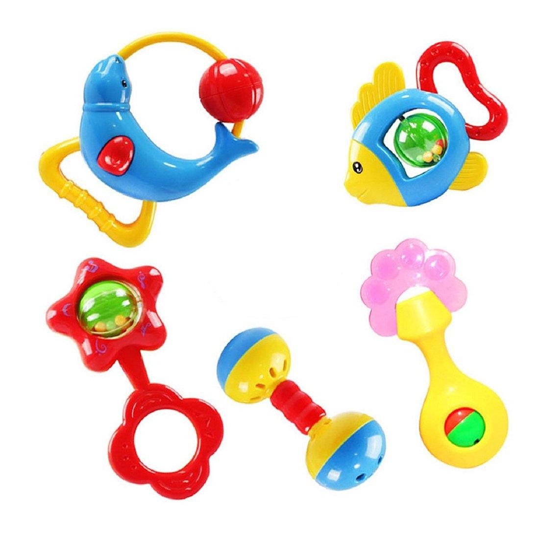 R Regalo de Navidad 5 pcs animal campanas precioso sonajero de desarrollo juguete para ninos bebe Ninos juguete SODIAL