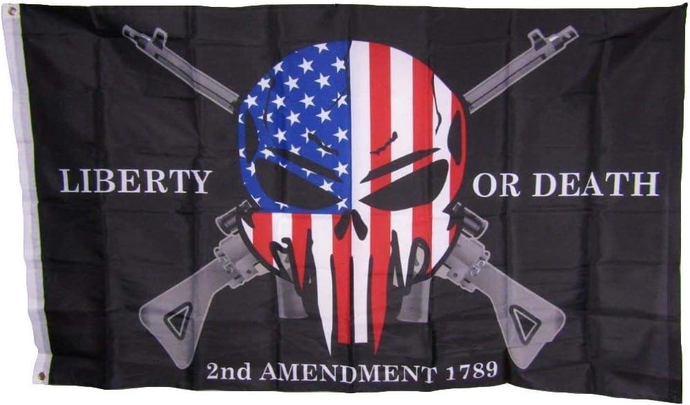 3x5 Liberty or Death 2nd Amendment USA Punisher Skull Rifles 1789 Flag 3'x5'