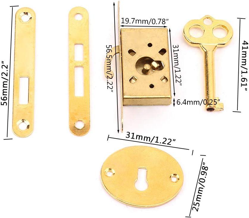 Rtengtunn Cerradura de caj/ón Vintage con Llave Cerraduras de Puerta de gabinete de Caja peque/ña Antigua Accesorios de Muebles