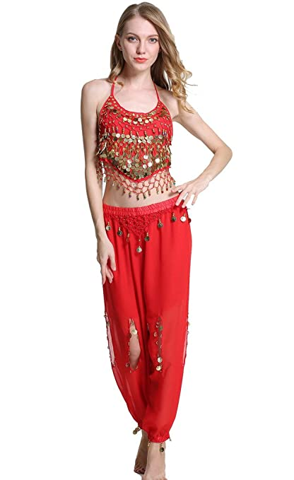 ZLTdream Lady's Belly Dance Chiffon Banadge Top and Lantern Coins Pants Black, One Size