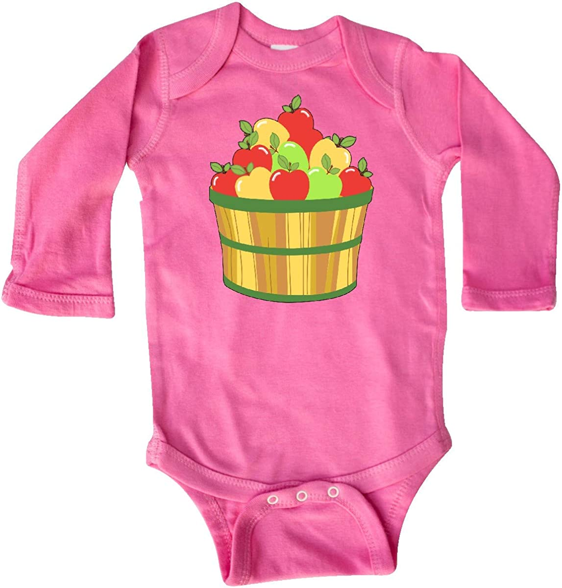 inktastic Basket of Apples Red Yellow Green Long Sleeve Creeper