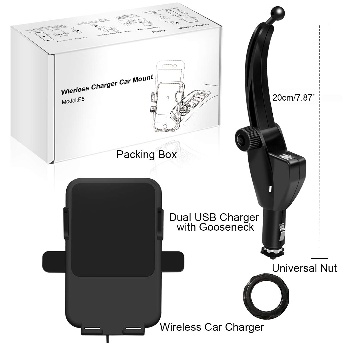Car Charger Cradle Mount Compatible for Samsung Galaxy S10e//S10//S10+//S9 and iPhone X//XR//XS Max and QI-Enabled Phones Wireless Car Charger Phone Holder, 10W Qi Fast Charging