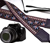 Lucky Elephants Camera Strap. Purple and Blue Ethnic Camera Strap. Dark Purple DSLR/SLR Camera Strap with Indian Motives. Durable, Light Weight and Well Padded Camera Strap. Code 00203