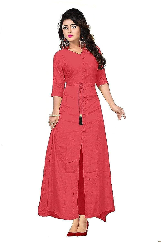 fed6f7924f Feministaaa Women s Rayon Long Sleeve V-neck Full Stitch Dress (Tomato