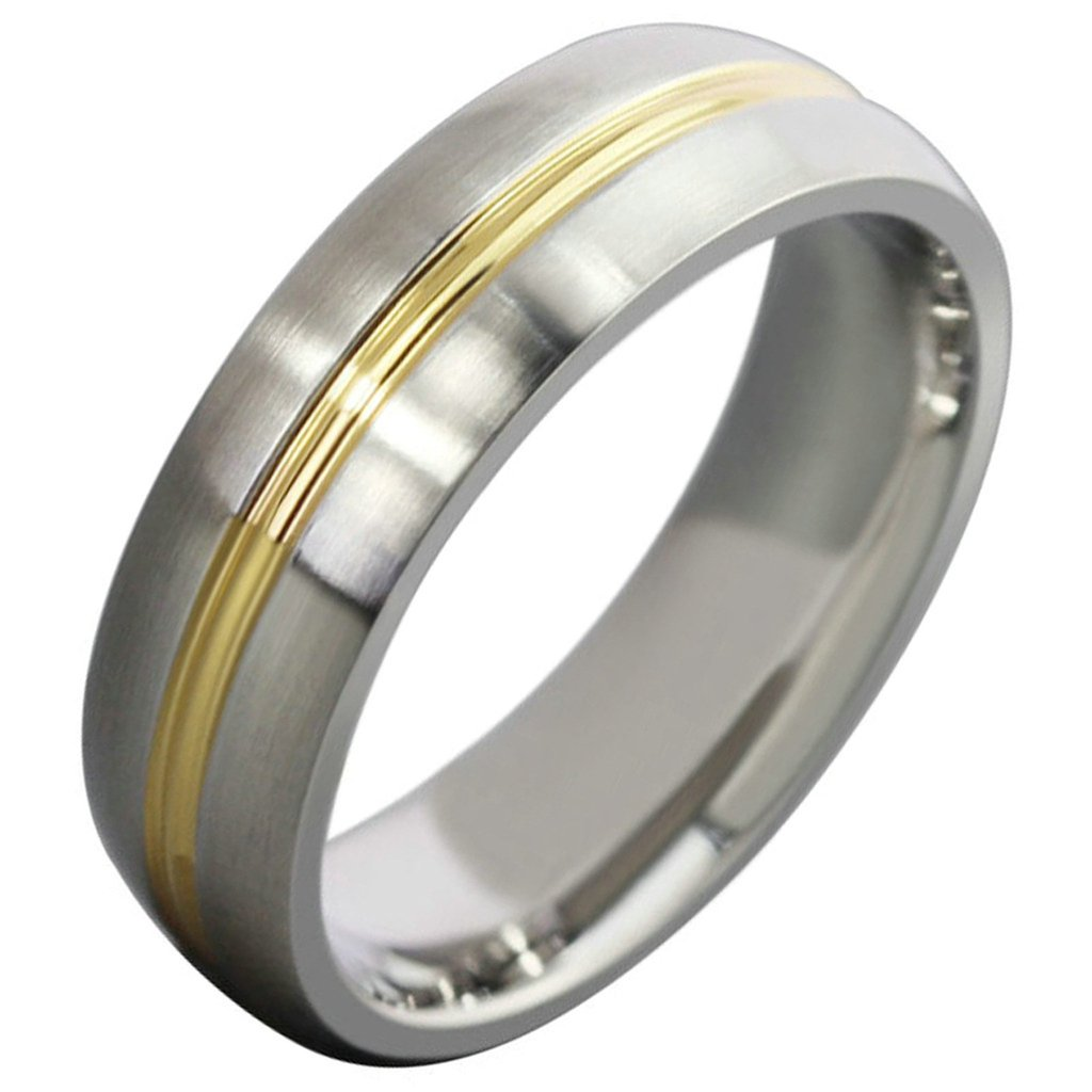 Free Engraving KnSam Men Stainless Steel Bands Gold Classic Circle Round 6MM Size 10 [Novelty Ring]