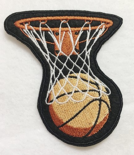 WHOOSH!!! Basketball & Hoop - Nothing but Net Embroidered Iron on Patch - 3.25