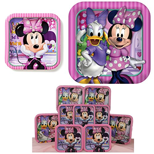 32 Pc Disney Minnie Mouse Bowtique Dream Party Birthday Dinner and Dessert Plate Supplies with 16 Each (32 total) (Daisy Duck Birthday Supplies)
