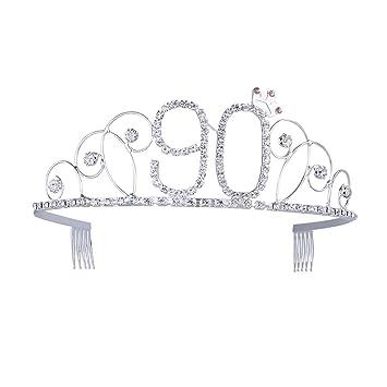 Auguri Di Buon Compleanno Nonna 90 Anni.Frcolor Coroncina In Cristallo Argentato Per Auguri Di