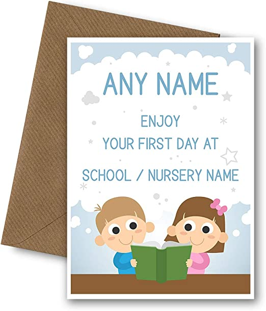 Personalised First Day at New School Card Good Luck Son Daughter Reception