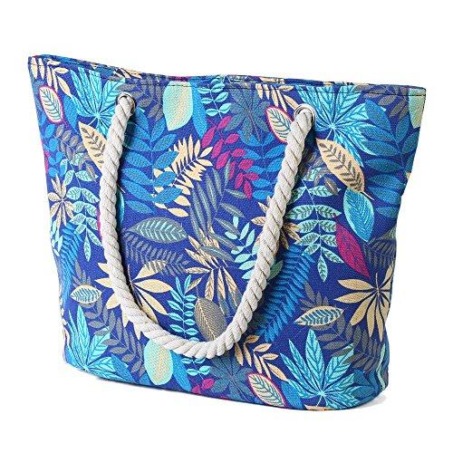 Tote Blätter amp; Cystyle Beach Blaue Cystyle Women'sCanvas Women'sCanvas Bag p8C1XnfW