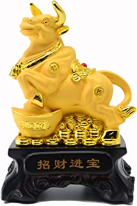 Bwinka 2021 Feng Shui Chinese Zodiac OX Year Golden Resin Collectible Figurines Decoration for Luck & Wealth Perfect for Your Home or Office (CWL-ZCJB)