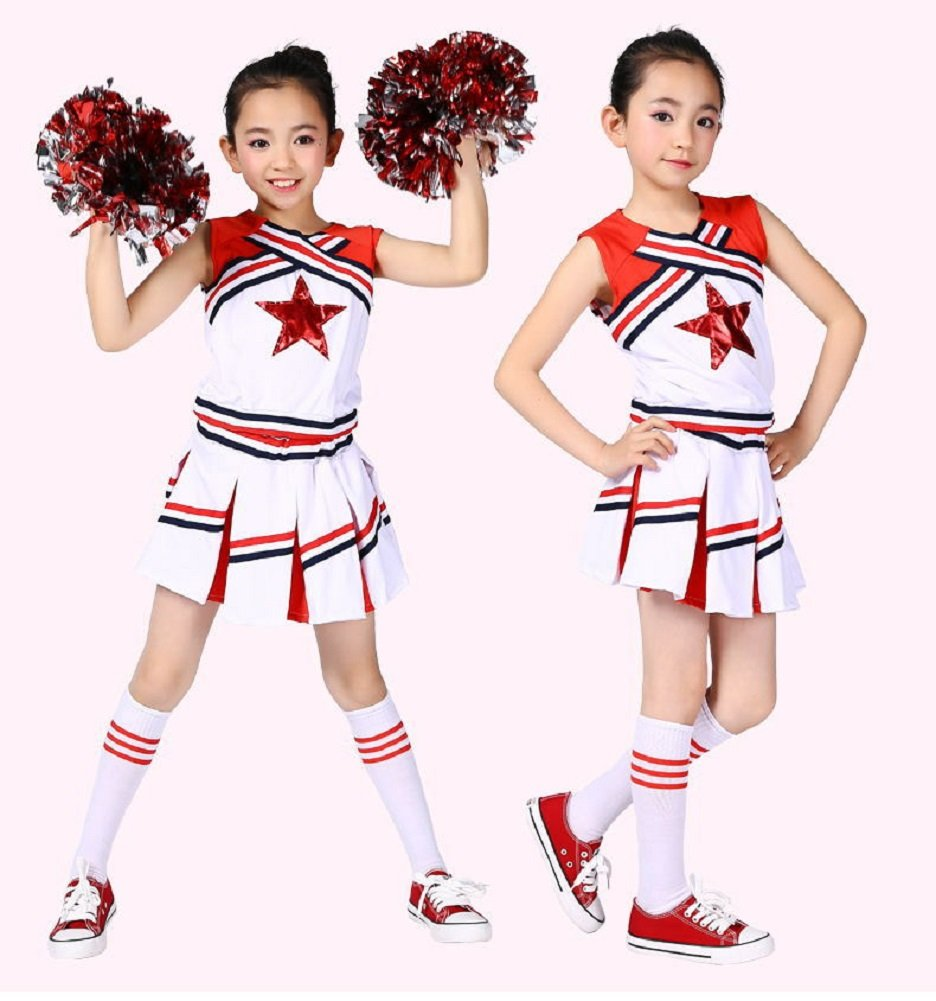 avec Pompons et Chaussettes Blanc et /étoile Rouge LOLANTA Costume de Cheerleader pour Enfant