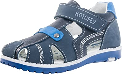 Kotofey Boys Sandals 522077-21 Genuine Leather Orthopedic Shoes with Arch Support