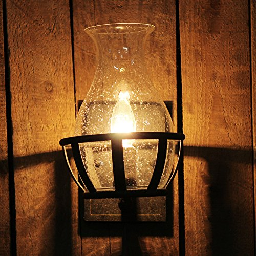 Lovedima Retro Rustic Jar-Shaped Seeded Glass Single Candelabra Light Bulb Wall Lamp /& Metal Backplate