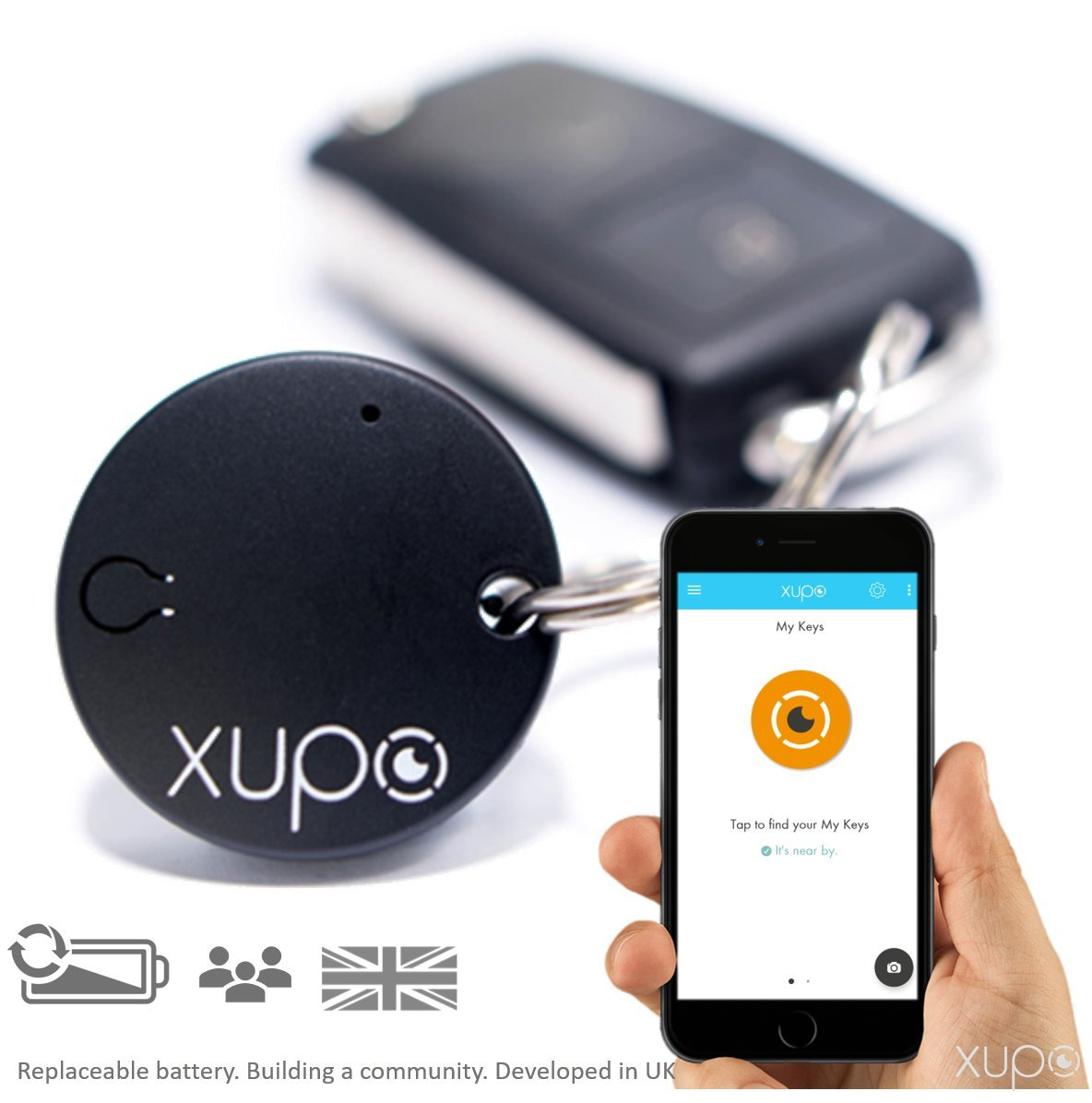 Find My Keys >> Xupo Key Finder And Item Locator Beacon British Design Smart Tracker Tag As Seen On Dragons Den