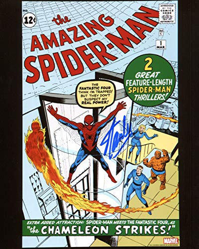 Stan Lee Amazing Spiderman #1 Signed/Autographed 8x10 Glossy Photo. Includes Fanexpo Certificate of Authenticity and Proof of signing. Entertainment Autograph Original. from Star League Sports