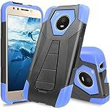 Motorola Moto E4 Case, TJS Dual Layer Hybrid Shock Absorbing Impact Resist Rugged Drop Protection Case Cover Kickstand Silicone Inner Layer For Motorola Moto E4 (Blue/Black)
