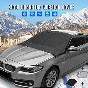 """[UPGRATED] Windshield Snow Cover Mirror Cover Magnetic Automobile Sun Shade Protector Snow Ice Cover Rain Resistant,Universal Waterproof Windshield Cover Car,SUV,TRUCK ,83'' 47"""""""