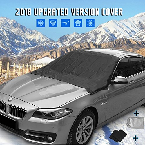 Automobile Windshield Sunshade ([UPGRATED] Windshield Snow Cover Mirror Cover Magnetic Automobile Sun Shade Protector Snow Ice Cover Rain Resistant,Universal Waterproof Windshield Cover Car,SUV,TRUCK ,83'' 47
