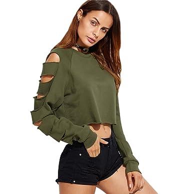 Sweat Court Femme Sweat Shirt Crop Top Pull Over Sweatshirt Sweat-Shirt  Déchiré Creux Trou f0eb48624cdc